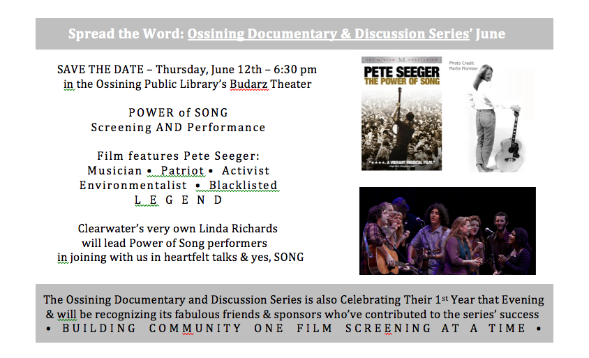 Power Of Song Mini Flyer The Ossining Documentary Discussion Series